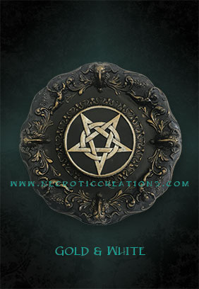 pentacle plaque gold white