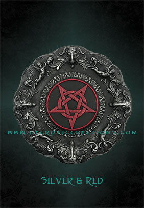 pentacle plaque silver red