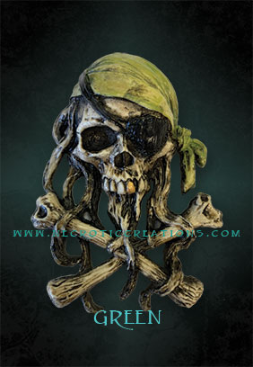 mini pirate skull 2 green